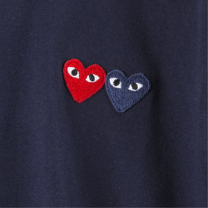 COMME DES GARCONS PLAY T-SHIRT WITH SMALL DOUBLE HEARTS NAVY