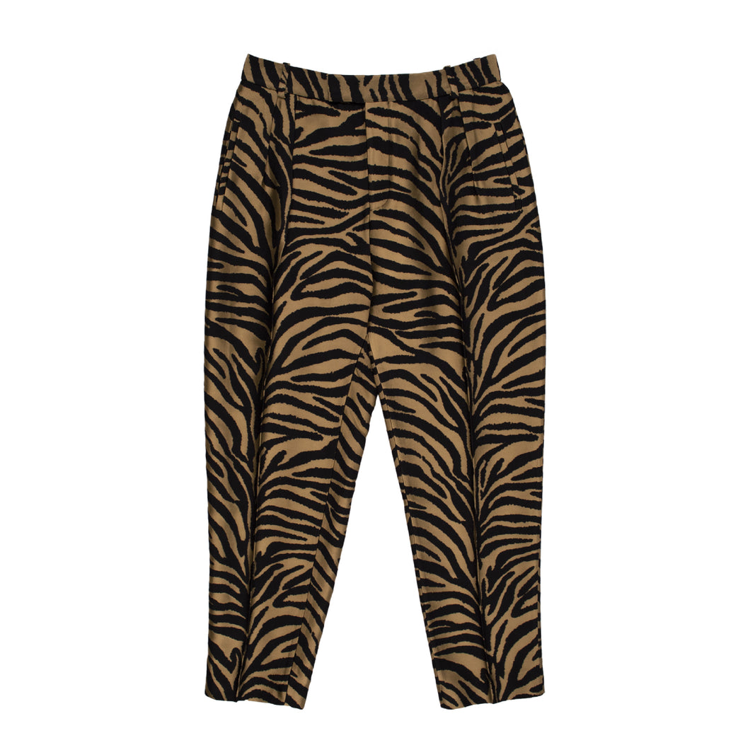KHAITE ZEBRA-PRINT PANTS BROWN
