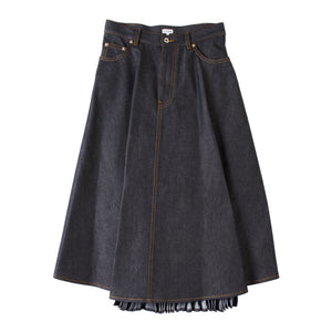LOEWE PLEATED DENIM SKIRT BLUE