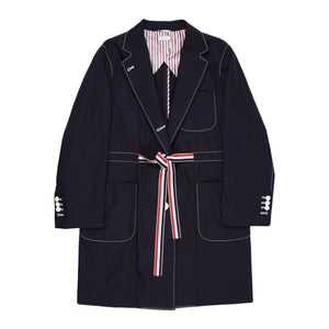 THOM BROWNE SACK OVERCOAT BLUE