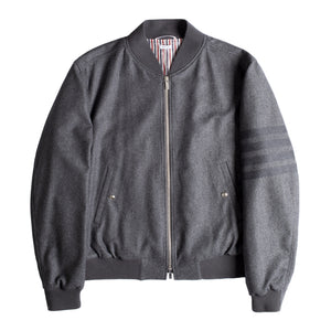 THOM BROWNE FLANNEL BOMBER JACKET GREY