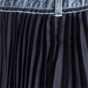 SACAI DENIM FAN SKIRT BLUE