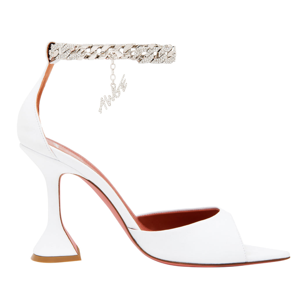 AMINA MUADDI OPEN TOE HEEL W- WHITE CRYSTAL CHAIN STRAP WHITE