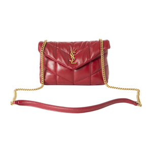 "SAINT LAURENT ""LOULOU"" MINI PUFFER CROSSBODY RED"