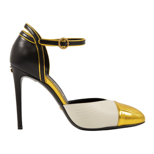 GUCCI COLOR-BLOCK PUMPS GOLD