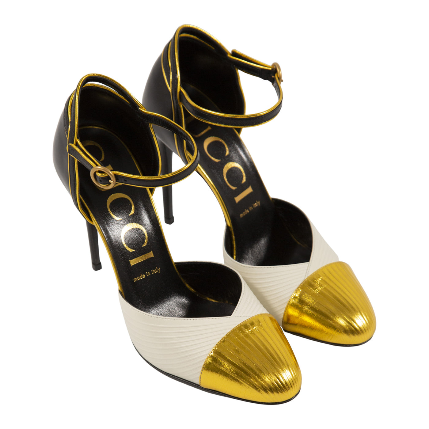 Load image into Gallery viewer, GUCCI COLOR-BLOCK PUMPS GOLD
