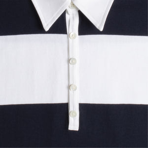THOM BROWNE OVERSIZED LONG-SLEEVED RUGBY STRIPED POLO WHITE