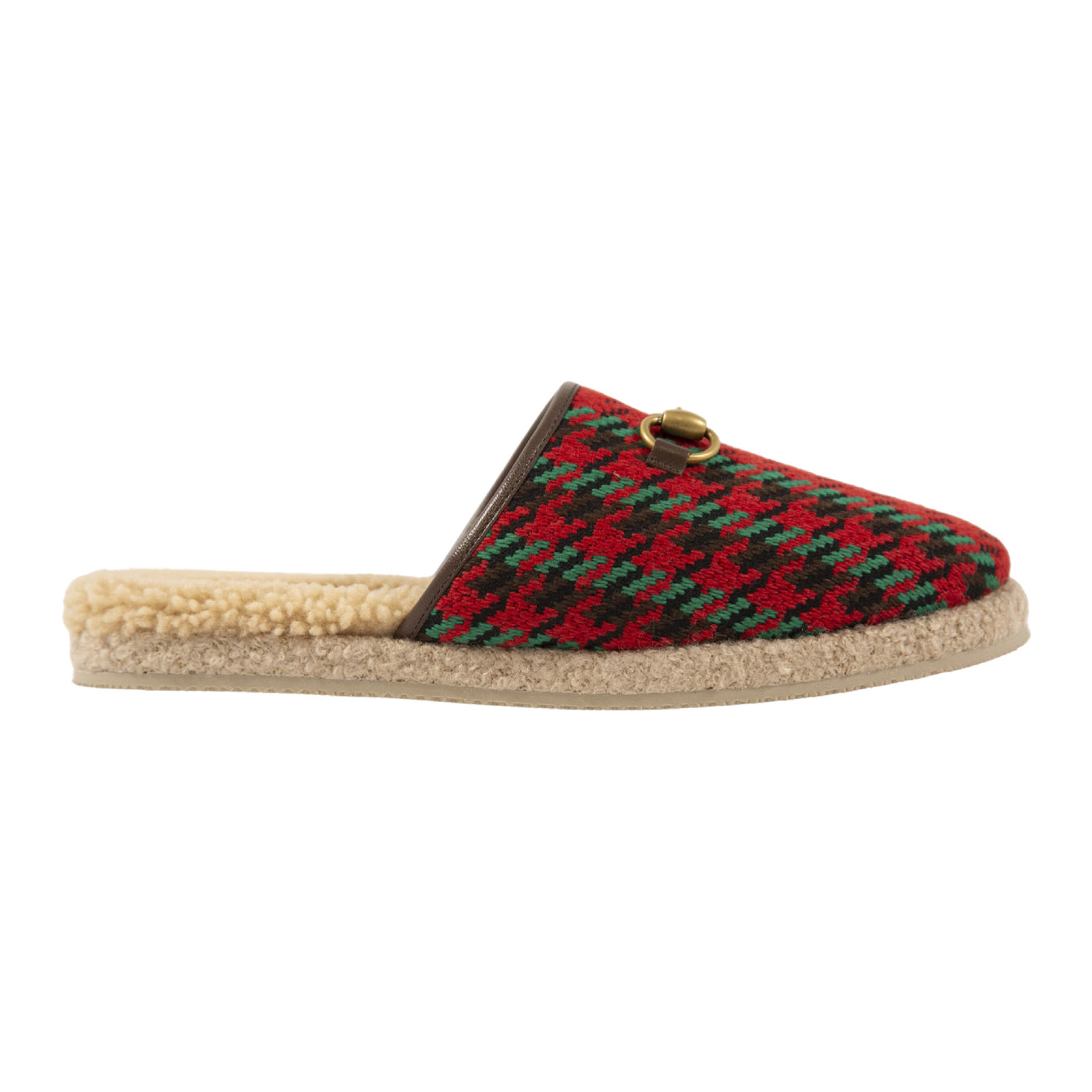 Load image into Gallery viewer, GUCCI PLAID FUR SLIP-ONS RED