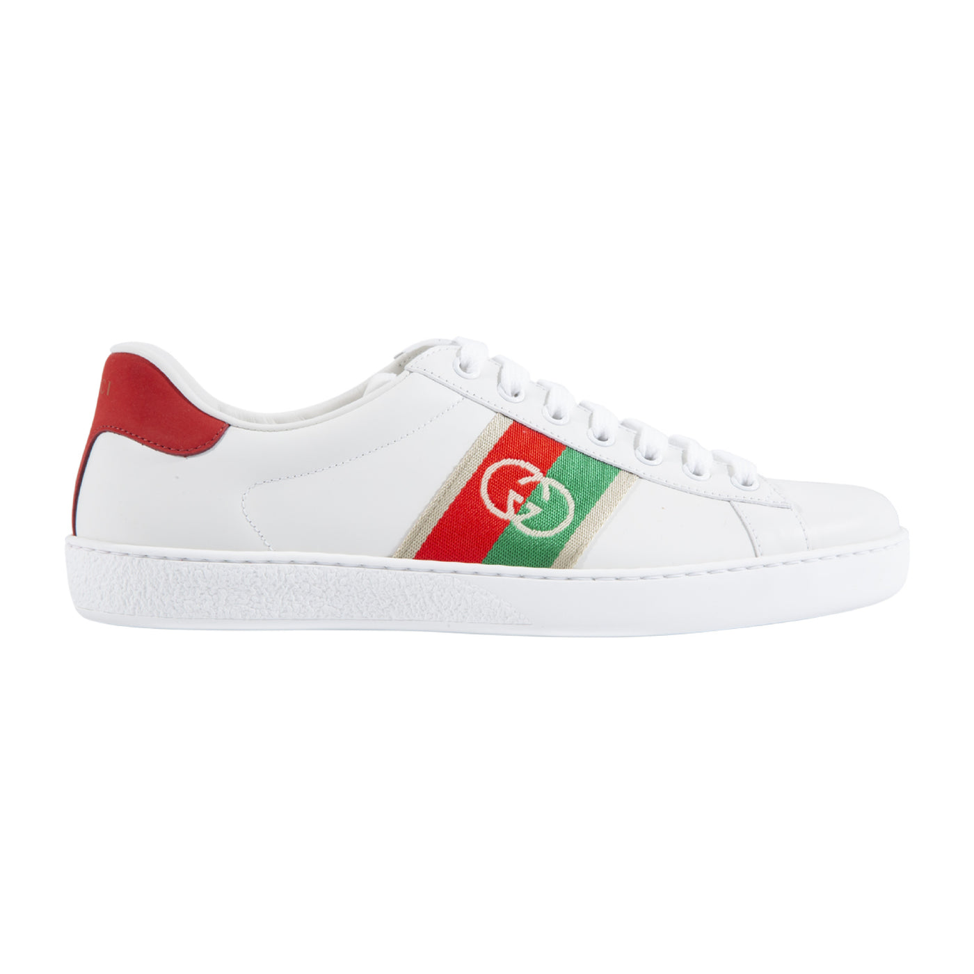 Load image into Gallery viewer, GUCCI LOW TOP SNEAKERS WITH LOGO STRIPE WHITE