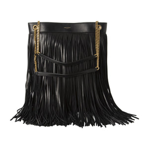 "SAINT LAURENT ""GRACE"" SUEDE HANDBAG""GRACE"" LIGHT SUEDE HANDBAG WITH FRINGES BLACK"