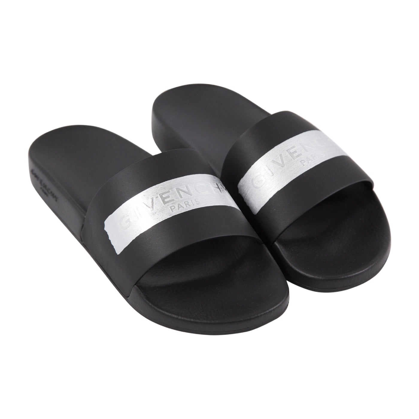 Load image into Gallery viewer, GIVENCHY SLIDE SANDAL W- DESIGN ON STRAP BLACK