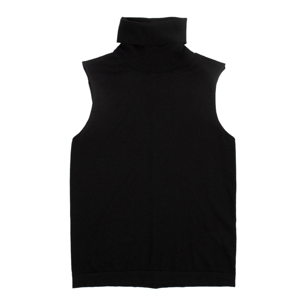 THE ROW CASHMERE-BLEND SLEEVELESS TURTLENECK BLACK