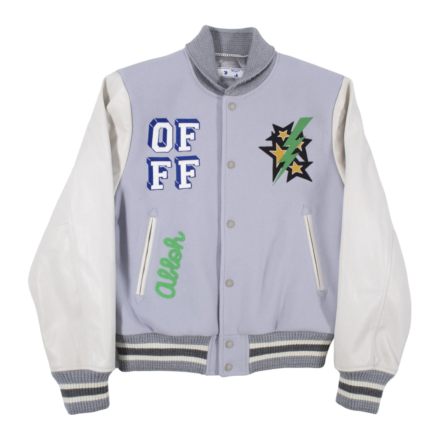 Load image into Gallery viewer, OFF-WHITE LEATHER VARSITY JACKET GREEN