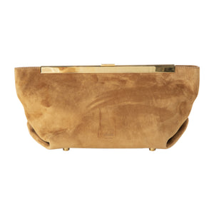 KHAITE AIMEE ENVELOPE PLEAT CLUTCH BROWN
