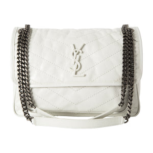 "SAINT LAURENT ""NIKI"" MEDIUM CHAIN BAG WHITE"