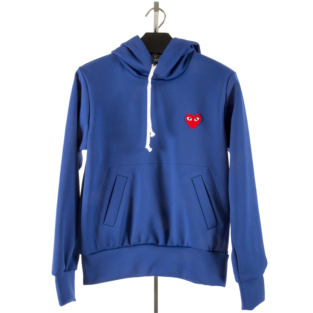 COMME DES GARCONS PLAY HOODED SWEATSHIRT BLUE