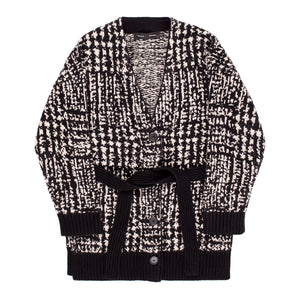 PROENZA SCHOULER OVERSIZED PLAID CARDIGAN BLACK