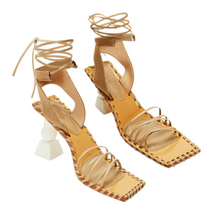 JACQUEMUS HIGH HEEL LEATHER SANDALS BROWN