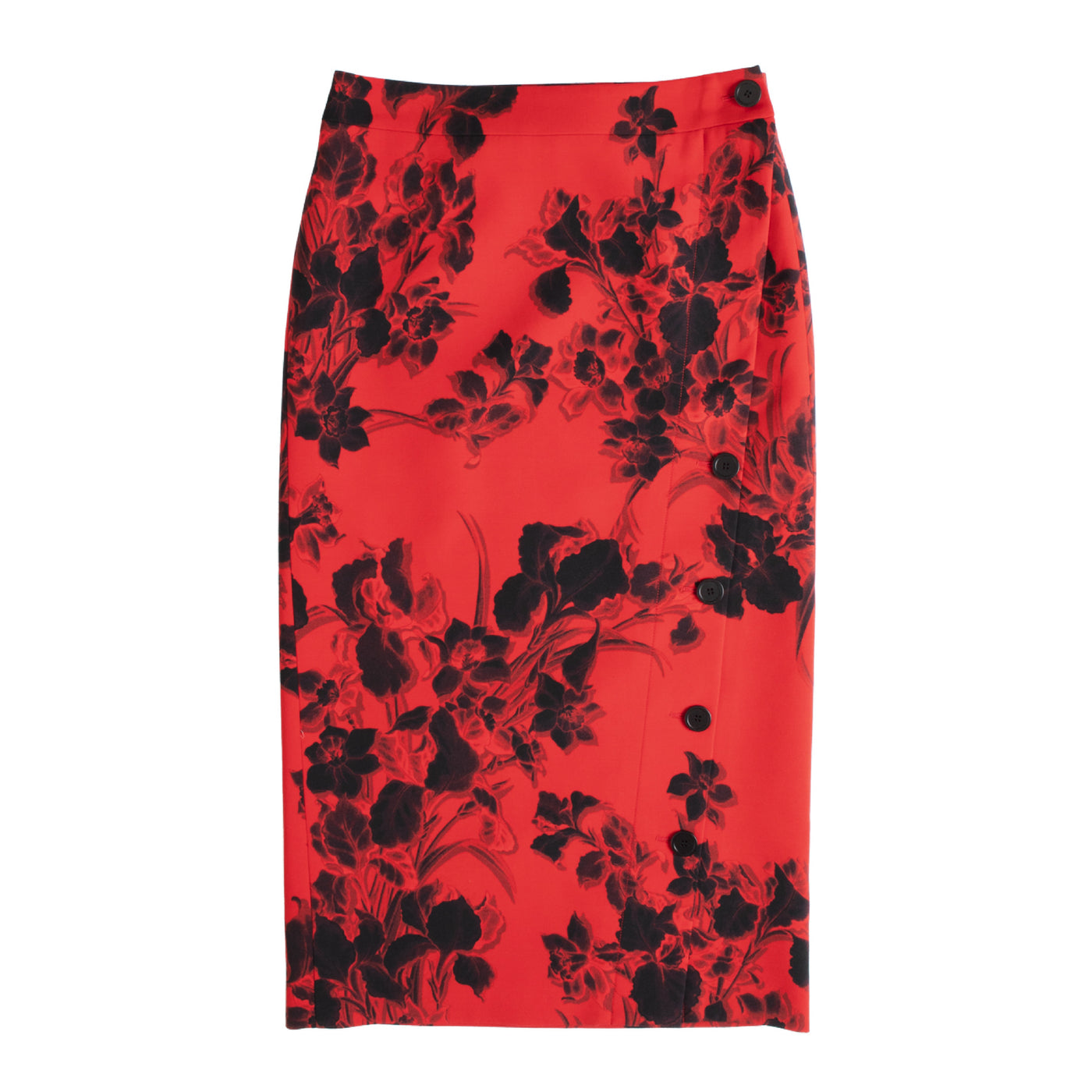 Load image into Gallery viewer, BALENCIAGA FLORAL PENCIL SKIRT RED