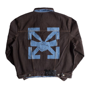 OFF-WHITE AGREEMENT RELAXED FIT JEAN JACKET BROWN