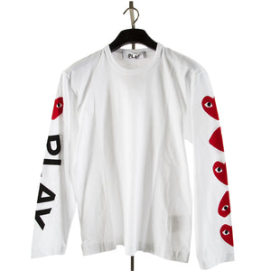 COMME DES GARCONS PLAY PRINTED-SLEEVE SHIRT WHITE