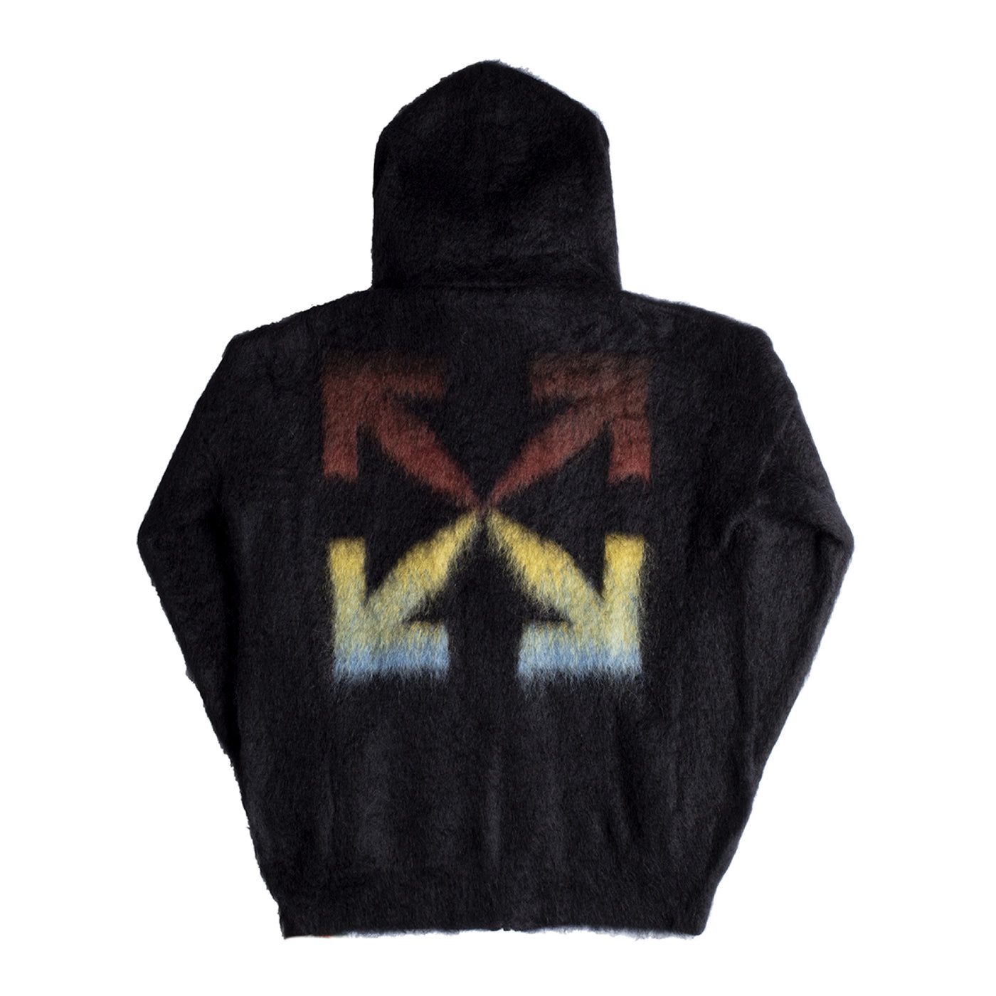 Load image into Gallery viewer, OFF-WHITE DIAGONAL BRUSHED MOHAIR ZIP HOODIE BLACK