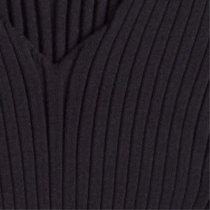 BOTTEGA VENETA RIBBED V-NECK SWEATER BLACK