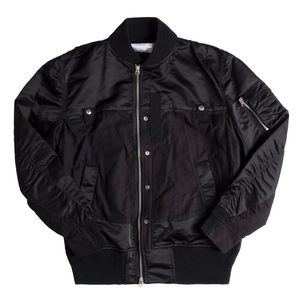 SACAI NYLON TWILL COTTON JACKET BLACK