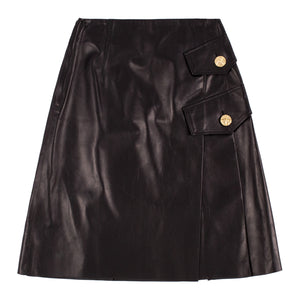 PROENZA SCHOULER PLEATED LEATHER SKIRT BLACK