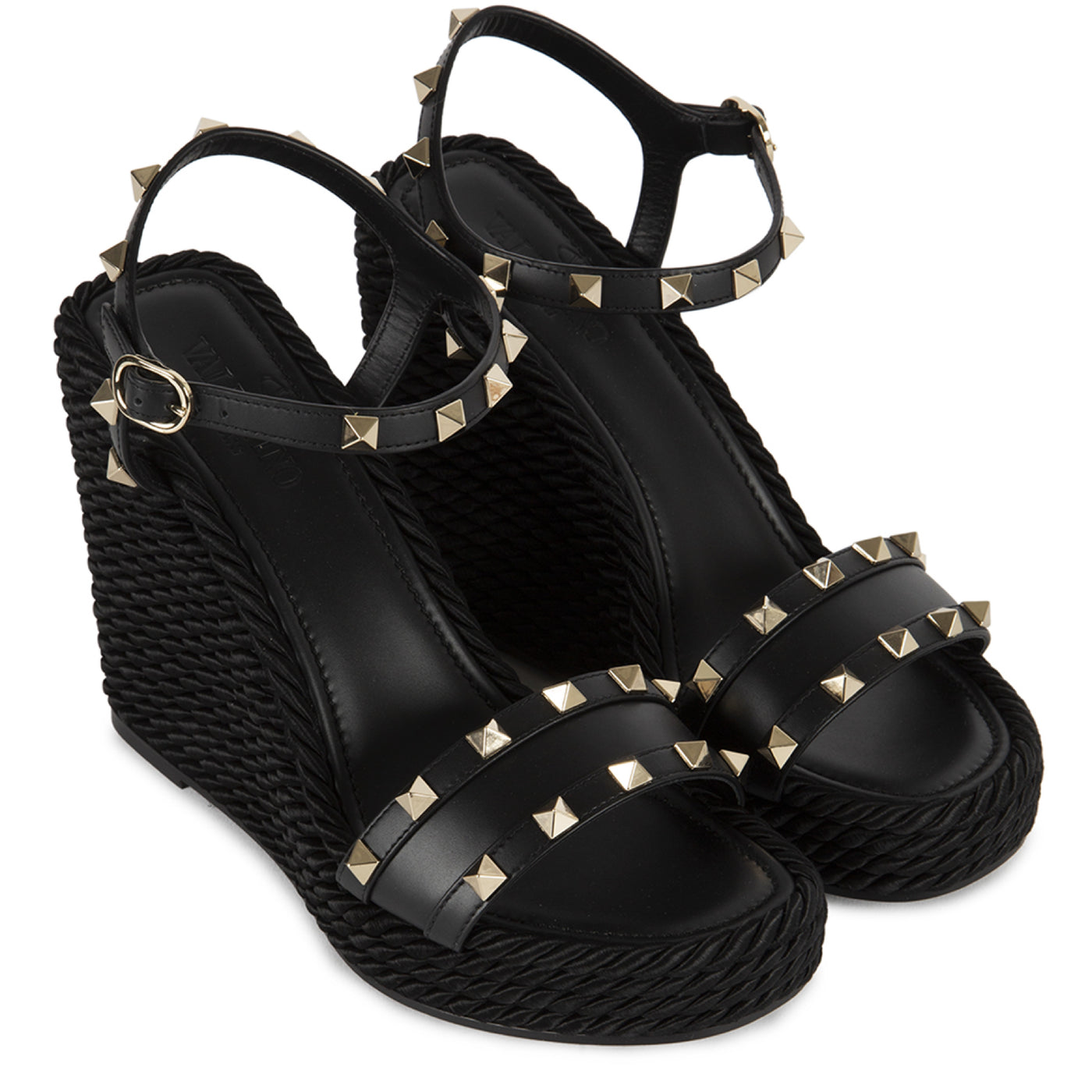 Load image into Gallery viewer, VALENTINO ROCKSTUD WEDGE SANDAL BLACK