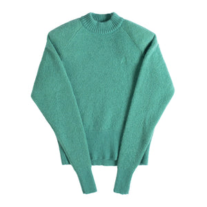 ATTICO MOHAIR SWEATER RAGLAN SLEEVES WITH SHOULDER PADS AND EMBROIDERED LOGO GREEN