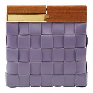 BOTTEGA VENETA WOVEN LEATHER CLUTCH PURPLE