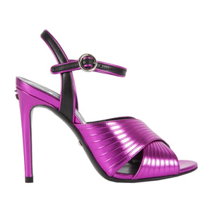 "GUCCI ""BETSY"" WIDE STRAP HEELED SANDALS PINK"