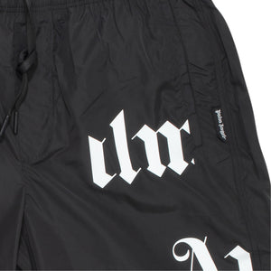 PALM ANGELS BROKEN MONOGRAM SWIM SHORT BLACK