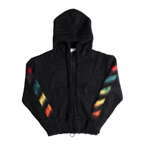 OFF-WHITE DIAGONAL BRUSHED MOHAIR ZIP HOODIE BLACK
