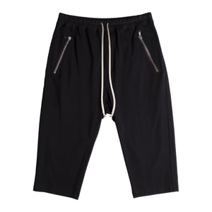 RICK OWENS CROPPED DRAWSTRING PANTS BLACK
