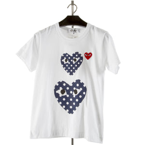 COMME DES GARCONS PLAY T-SHIRT WITH DOUBLE POLKA DOT HEARTS WHITE