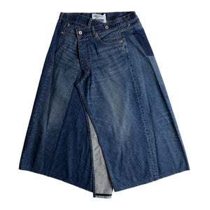 JUNYA WATANABE DENIM CROSSOVER SKIRT BLUE