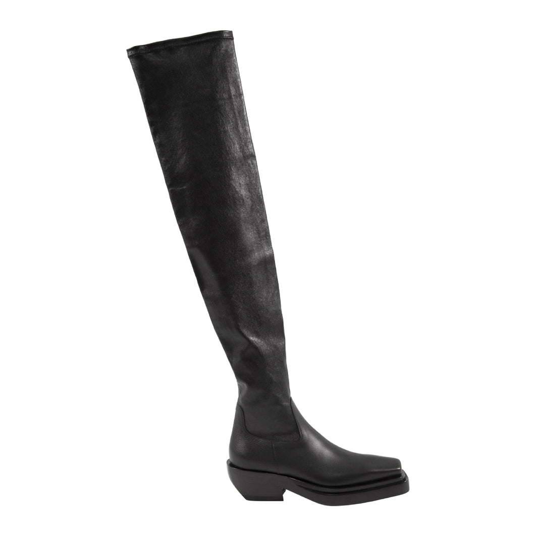 BOTTEGA VENETA SQUARE-TOE THIGH-HIGH BOOTS BLACK