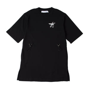 OFF WHITE BIRD-PRINT DRESS BLACK