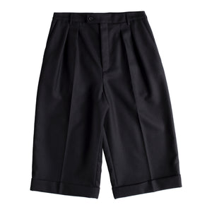 SAINT LAURENT WOOL GABERDINE CUFFED TROUSERS BLACK