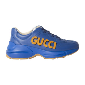 GUCCI CHUNKY LEATHER SNEAKERS BLUE