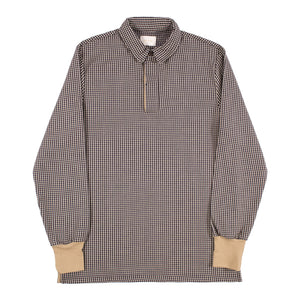 AIMÉ LEON DORE HOUNDSTOOTH FLANNEL RUGBY SHIRT NEUTRAL