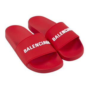 BALENCIAGA POOL SLIDES RED