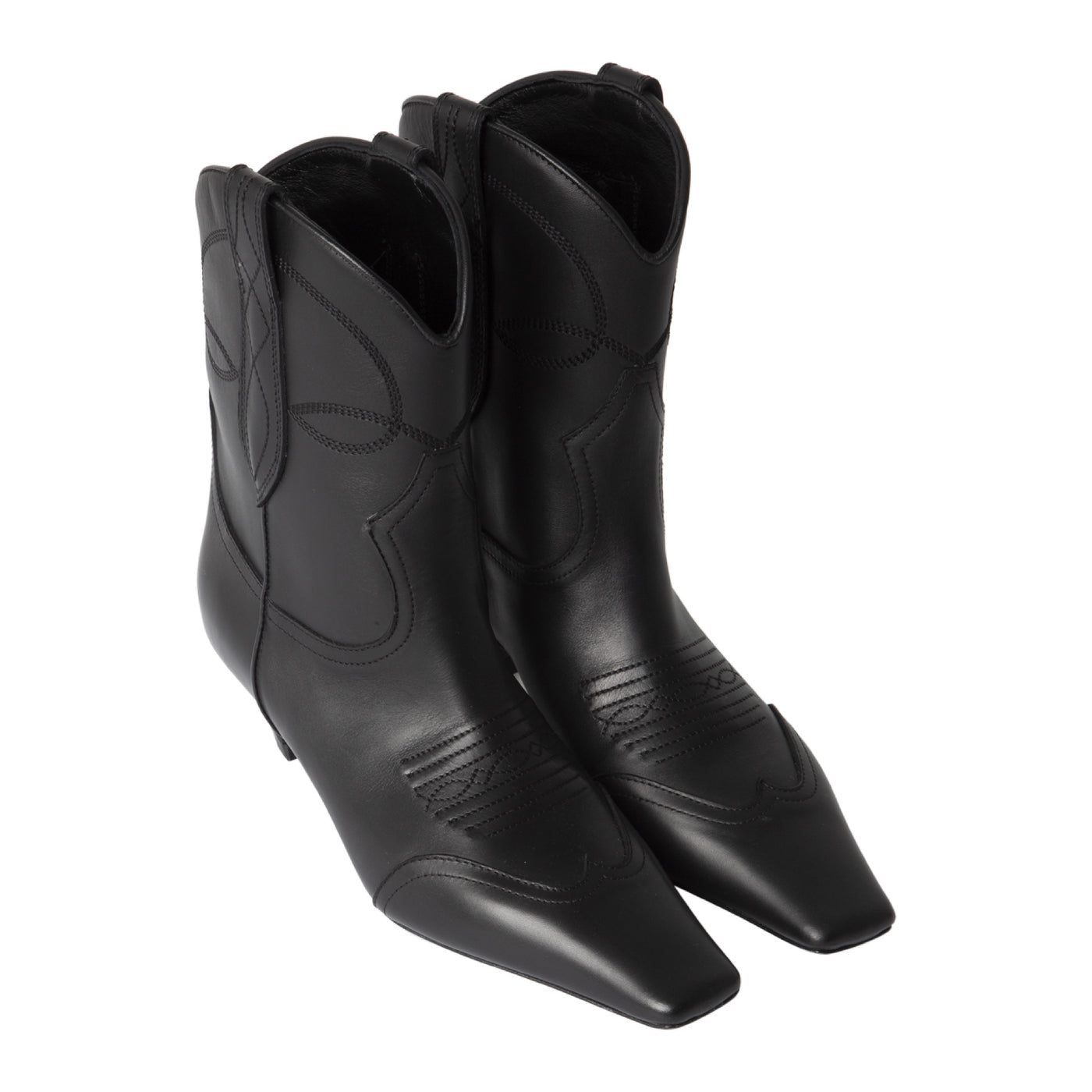 Load image into Gallery viewer, KHAITE WESTERN ANKLE BOOTS BLACK