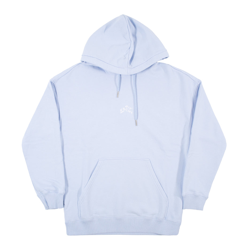 GIVENCHY REGULAR FIT MINI REFRACTED EMBROIDERED HOODIE BLUE