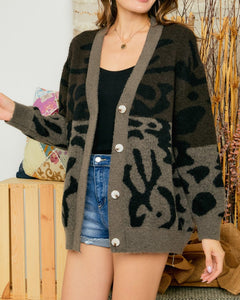 Two Toned Leopard Print Cardigan