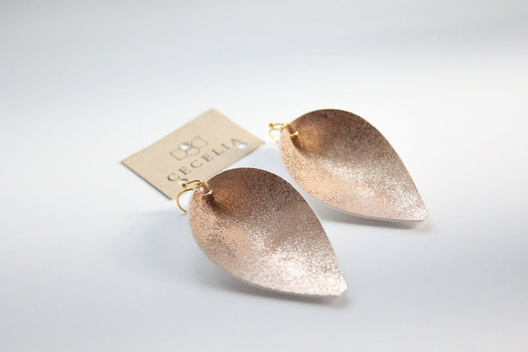 Sparkling Peach Leaf Faux Leather Earrings