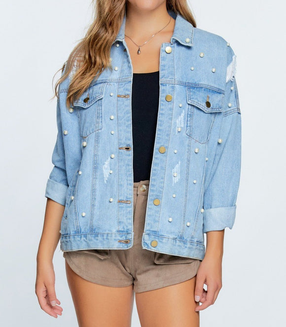 Pearly Light Denim Jacket