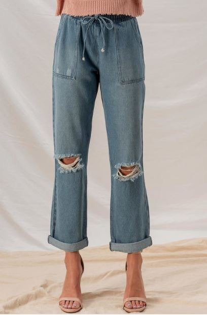 Denim Distressed Paper Bag Pants